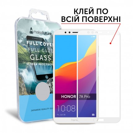 Захисне скло MakeFuture Full Cover Full Glue Honor 7A Pro White