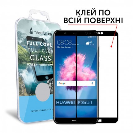 Захисне скло MakeFuture Full Cover Full Glue Huawei P Smart Black