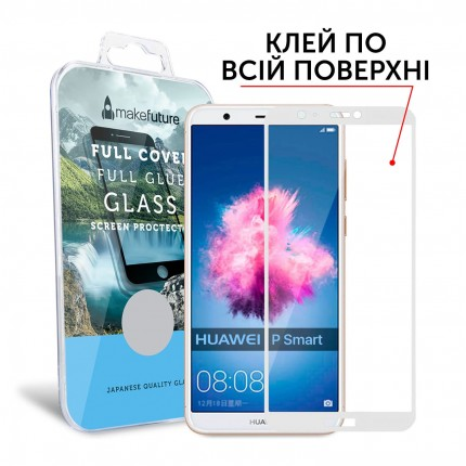 Захисне скло MakeFuture Full Cover Full Glue Huawei P Smart White