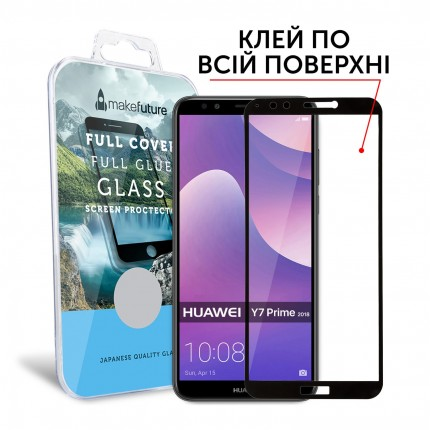 Захисне скло MakeFuture Full Cover Full Glue Huawei Y7 Prime 2018 Black
