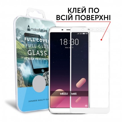 Захисне скло MakeFuture Full Cover Full Glue Meizu M6s White