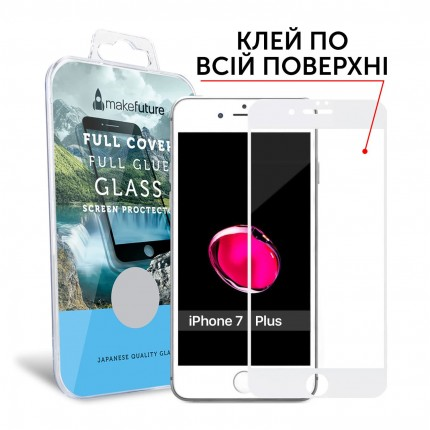 Захисне скло MakeFuture Full Cover Full Glue Apple iPhone 7 Plus White