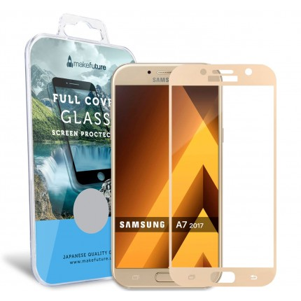 Захисне скло MakeFuture Full Cover Samsung A7 2017 (A720) Gold