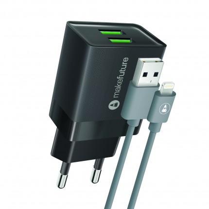 Зарядний пристрій 2.4A 2USB Auto-ID Black + кабель Lightning