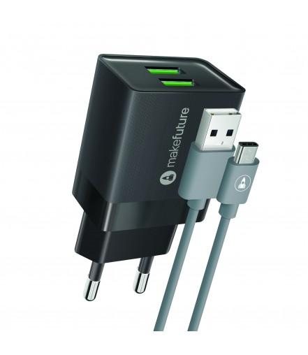 Зарядний пристрій 2.4A 2USB Auto-ID Black + кабель Type-C