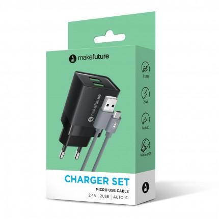 Зарядний пристрій 2.4A 2USB Auto-ID Black + кабель Micro USB