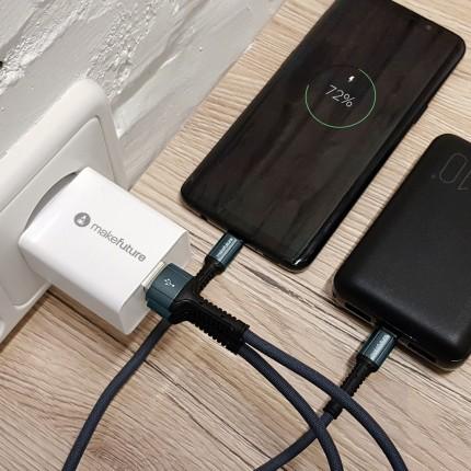 Зарядний пристрій мережевий MakeFuture18WType-C PD + USB QC3.0 White