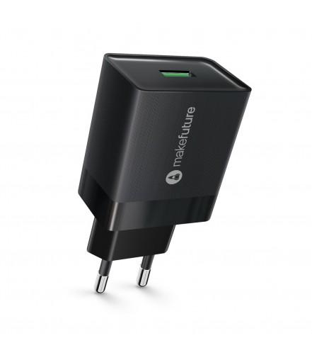 Зарядний пристрій мережевий MakeFuture 1USB (3A) Quick Charge Black