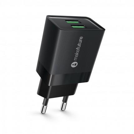 Зарядний пристрій мережевий MakeFuture 2.4A 2USB Auto-ID Black