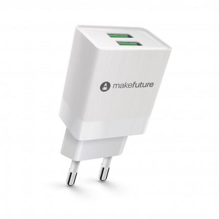 Зарядний пристрій мережевий MakeFuture 2.4A 2USB Auto-ID White