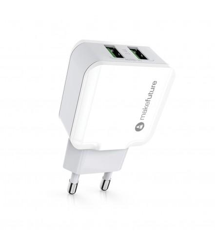 Зарядний пристрій мережевий MakeFuture 2USB (2.4A) White