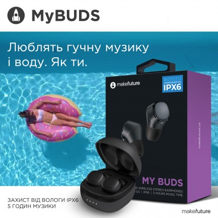 MakeFuture Навушники бездротові TWS MyBuds Black