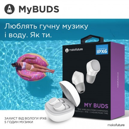 MakeFuture Навушники бездротові TWS MyBuds White