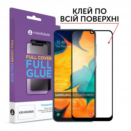 Захисне скло MakeFuture Full Cover Full Glue Samsung A30/A50/M30