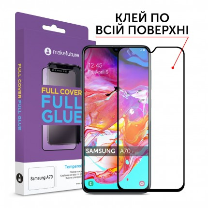 Захисне скло MakeFuture Full Cover Full Glue Samsung A70 (A705)