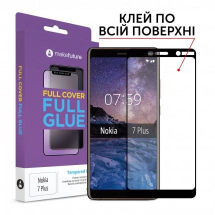 Захисне скло MakeFuture Full Cover Full Glue Nokia 7 Plus