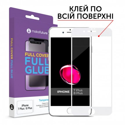 Захисне скло MakeFuture Full Cover Full Glue Apple iPhone 7 Plus/8 Plus White