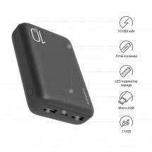 MakeFuture Універсальна мобільна батарея (Power Bank) 10000 mAh Li-Pol Black