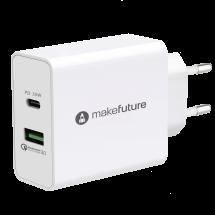 Зарядний пристрій мережевий MakeFuture42WType-C PD + USB QC3.0 White